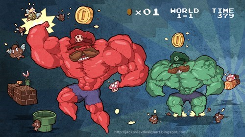 Fan Art,hulked out,Super Mario bros,video games