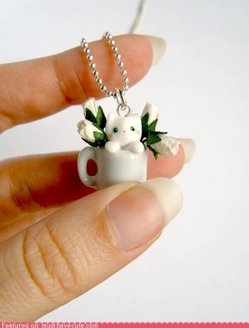 chain cup flowers kitty mug necklace pendant - 6304212224