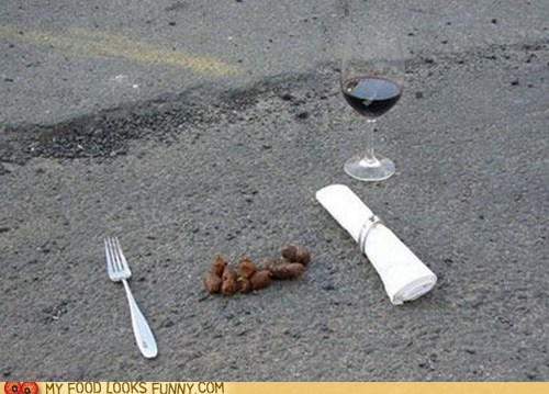 dogs,ground,meal,poop,silverware,wine