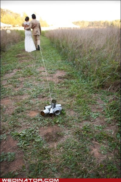 bride,funny wedding photos,groom,tin cans