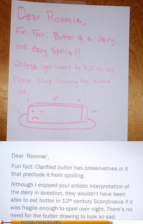 butter,dairy products,notes,roommates