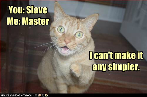 You: Slave Me: Master I can't make it any simpler.
