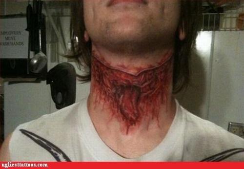 cut throat neck tattoos wound - 6304391424