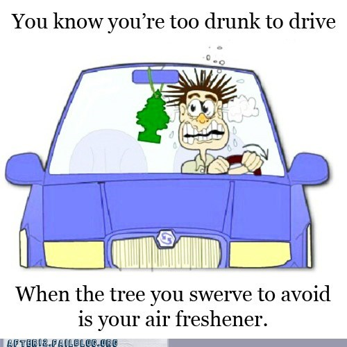 air freshner,driving,drunk,drunk driving,swerving,tree