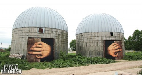 creepy,graffiti,hacked irl,hands,silo,Street Art