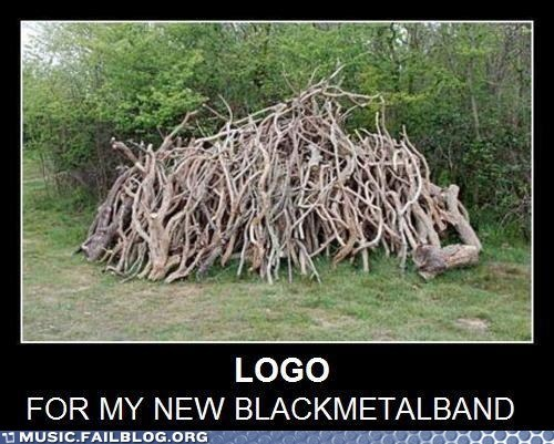 black metal demotivational illegible logo metal wood