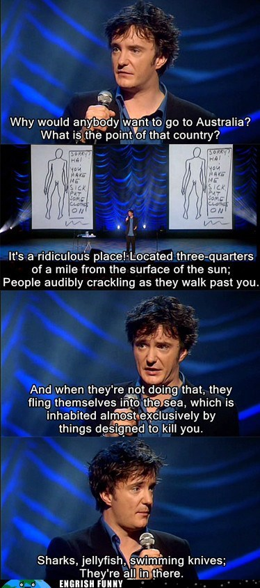 australia,dylan moran,jellyfish,sharks,snakes,swimming knives