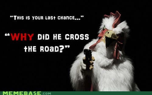 gun,hold up,chicken,road,costume