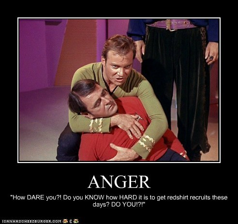 anger,Captain Kirk,died,hard,james doohan,recruits,redshirts,scotty,Shatnerday,Star Trek,William Shatner