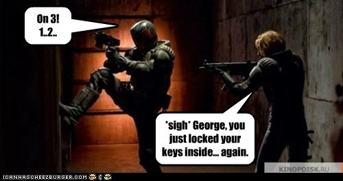 again,break in,cops,counting,door,judge dredd reboot,kick,locked keys in the car
