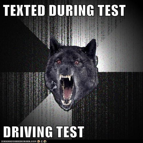 cars,dangerous,driving,insane,Insanity Wolf,Memes,tests,texting,wolves