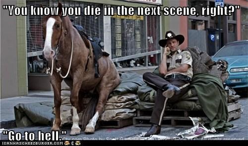 Andrew Lincoln,bickering,conversation,die,go to hell,horse,Rick Grimes,sitting,The Walking Dead