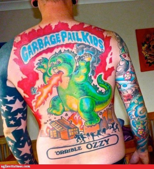 back tattoos,garbage pail kids,godzilla,orrible-ozzy,Ugliest Tattoos