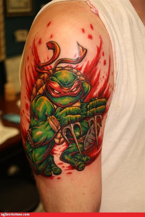 arm tattoo,raphael,teenage mutant ninja turl
