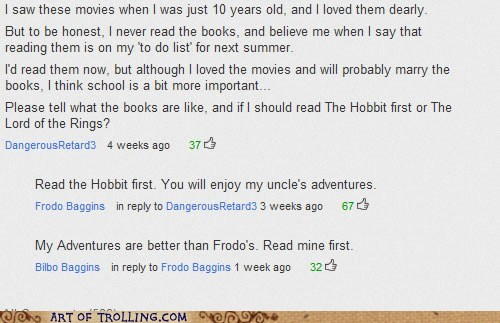 bilbo,commenter name,frodo,Lord of the Rings,youtube