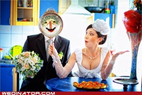 bride,cooking,funny wedding photos,groom
