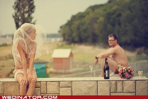 bride,funny wedding photos,groom,naked,wine
