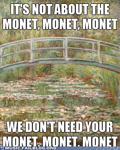 art,its-not-about-the-money,jessie j,monet,price tag