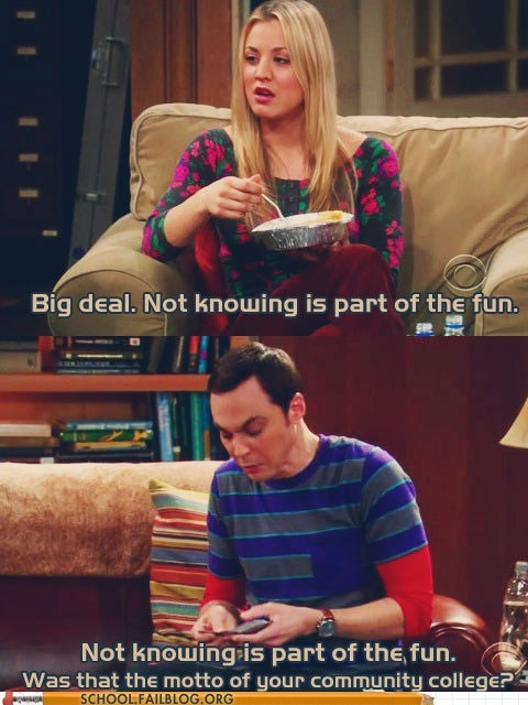 big bang theory community college not knowing sheldon