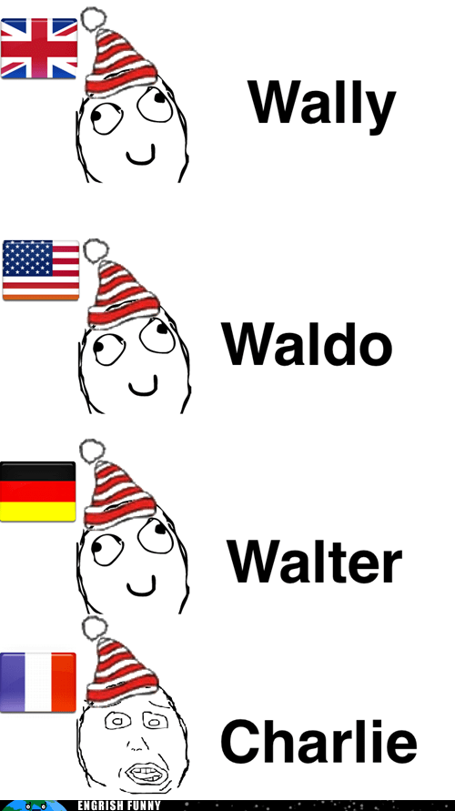 america charlie different languages differenze linguistiche dl england france Germany UK usa waldo wally walter wheres-charlie wheres waldo