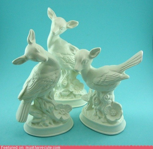 bird deer ceramic white