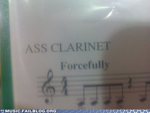 ass,band,bass,clarinet,forceful,sheet music,woodwind