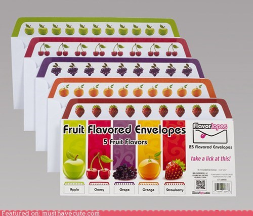 adhesive,envelopes,flavored,fruit