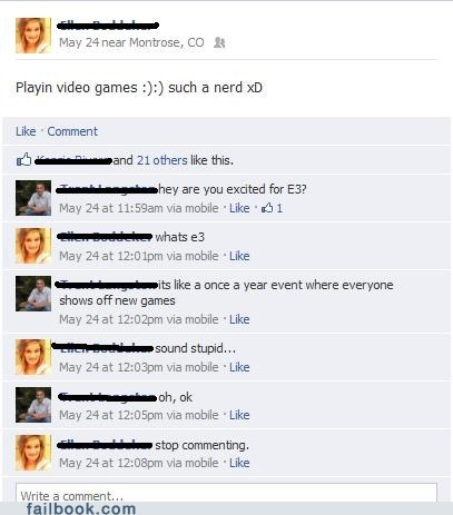 e3,failbook,g rated,nerd,video games