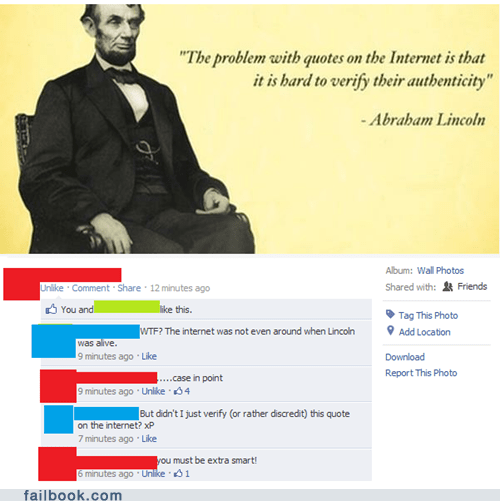 genius internet irony lincoln quotes smart the internet - 6308444416