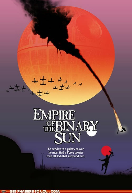 binary star,Death Star,empire of the sun,luke skywalker,mashup,Movie,poster,star wars,tatooine,the force
