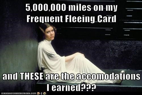 accommodations,airlines,carrie fisher,cell,earned,fleeing,miles,Princess Leia,squalor,star wars