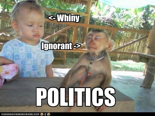 baby ignorant monkey politics resentment suspicion topical humor whiny