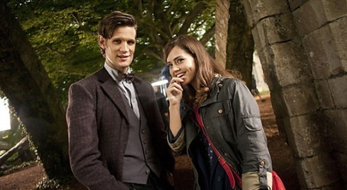 companion,doctor who,jenna-louise coleman,Matt Smith,Set Pic