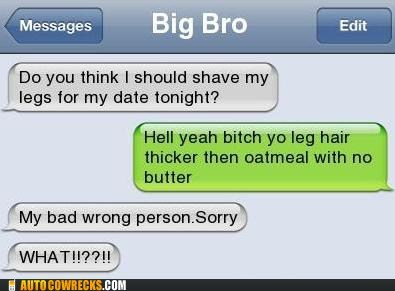 big bro iPhones shaving legs siblings wrong person - 6310879488