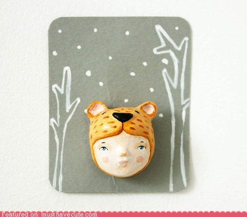 bear brooch girl handmade hat pin - 6310901504