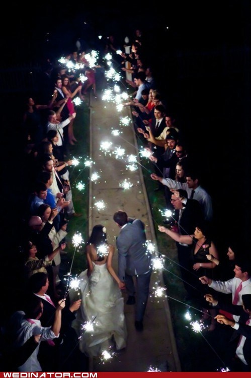 bride,funny wedding photos,groom,guests,sparklers