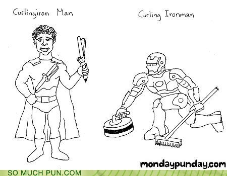 curling,curling iron,double meaning,Hall of Fame,identical,inflection,iron,iron man,literalism