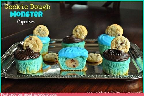 blue Cookie Monster cookies cupcakes epicute - 6311179264