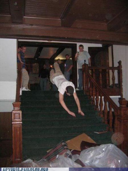 falling down stairway