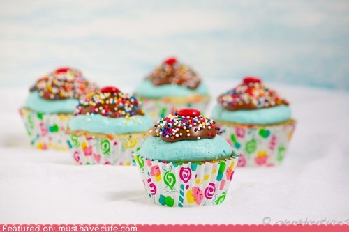 candy chocolate cotton candy cupcakes epicute sprinkles sundae - 6311232512