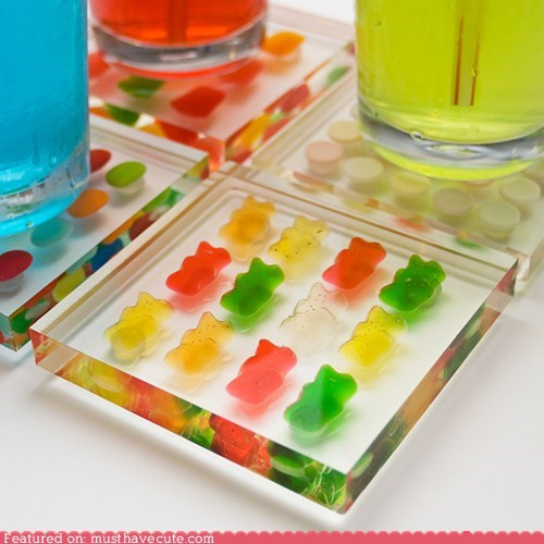 candy coasters gummy bears lucite plastic - 6311239424