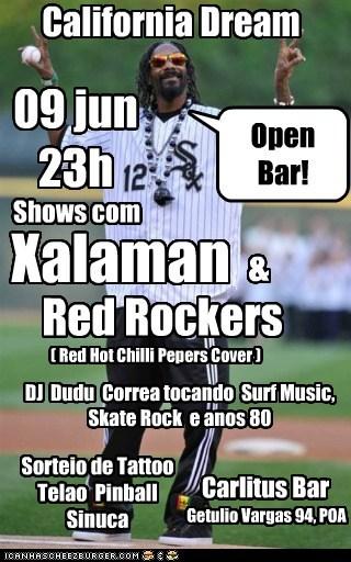 Carlitus Bar California Dream Shows com Xalaman Red Rockers ( Red Hot Chilli Pepers Cover ) & Open Bar! DJ Dudu Correa tocando Surf Music, Skate Rock e anos 80 Sorteio de Tattoo Telao Pinball Sinuca 09 jun 23h Getulio Vargas 94, POA