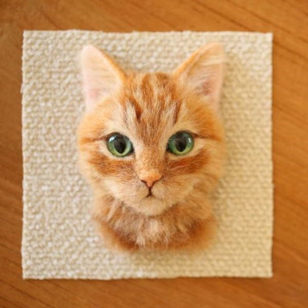 cat artwork by Japanese artist of super realistic cats