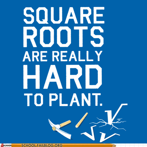 math humor,planting roots,square roots,tried