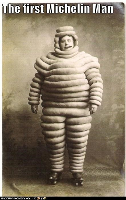 marshmallow Michelin man padding rollerskates suit