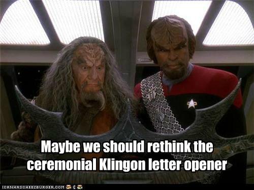batleth klingon letter opener maybe Michael Dorn overkill rethink Star Trek Worf - 6313998336