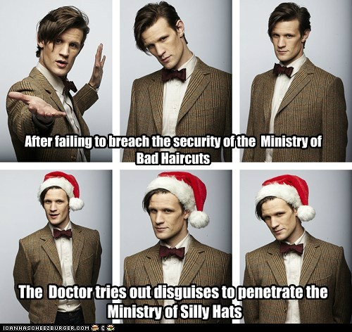 bad haircut,doctor who,Matt Smith,ministry,santa hats,silly hats,the doctor