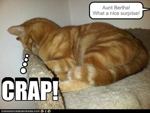 Aunt Bertha! What a nice surprise! CRAP! CRAP!