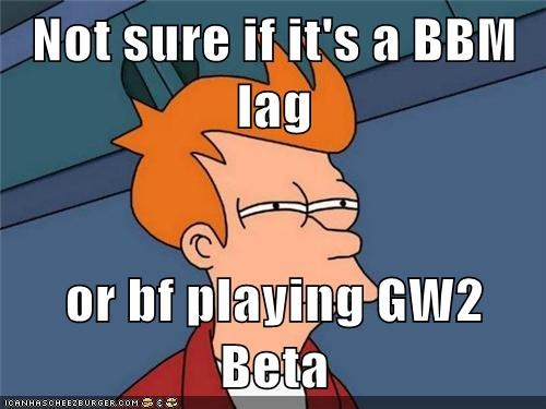 Not sure if it's a BBM lag or bf playing GW2 Beta - Memebase