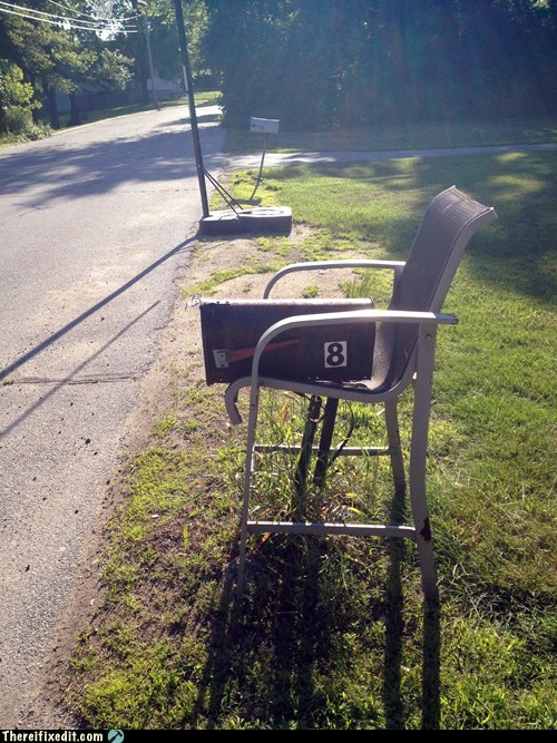 chair mail mailbox mailbox on a chair post postal service - 6318105344
